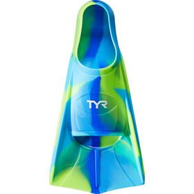 TYR Stryker Palmes en silicone XXS Enfant, blue/green